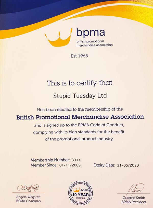 BPMA 10 year membership certificate awarded to Stupid Tuesday