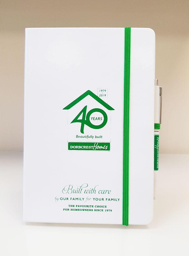 Case Study: Dorbcrest Homes The A5 White PU Notebook and Senator Point Polished Ballpen