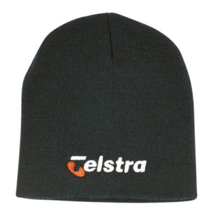 Black beanie hat with branding