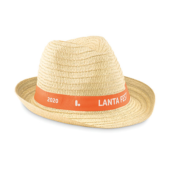 Straw Hat with Printed Ribbon, Stupid Tuesday